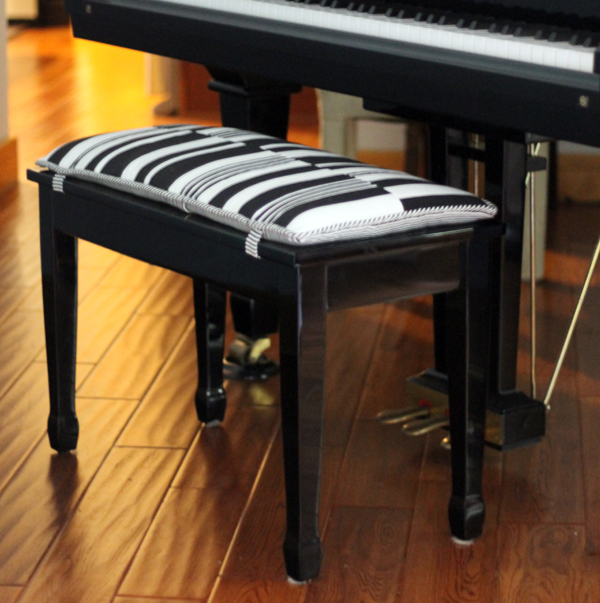 DIY Bench Cushion, Piano Bench Cushion, Black and White striped, music room