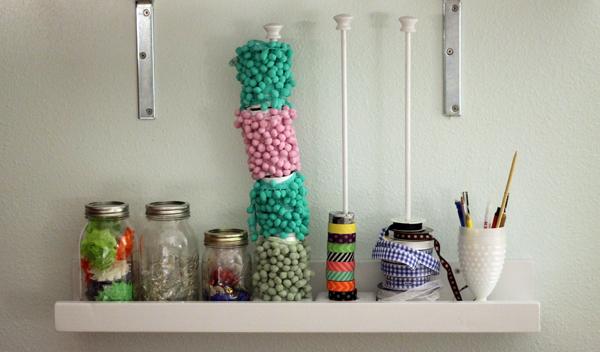 Pretty Shelf of trims and ribbons, ribbon holder, trim holder, pom pom holder