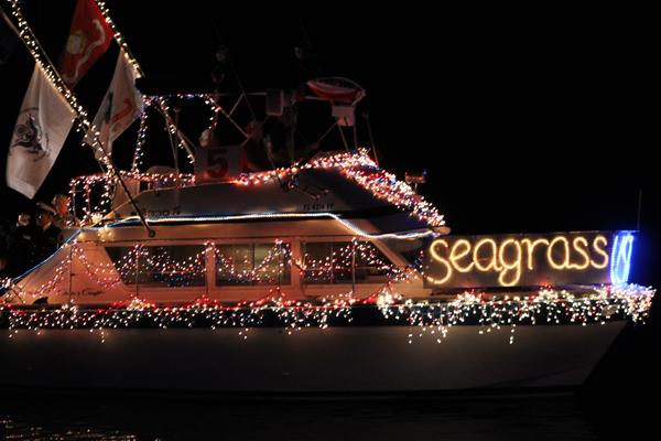Lighted boat at Christmas parade
