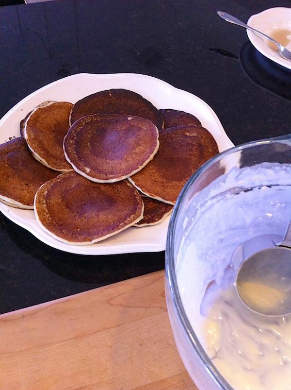 Step 2 in Bananas Foster Pancakes