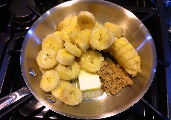 Step 3 in Bananas Foster Pancakes