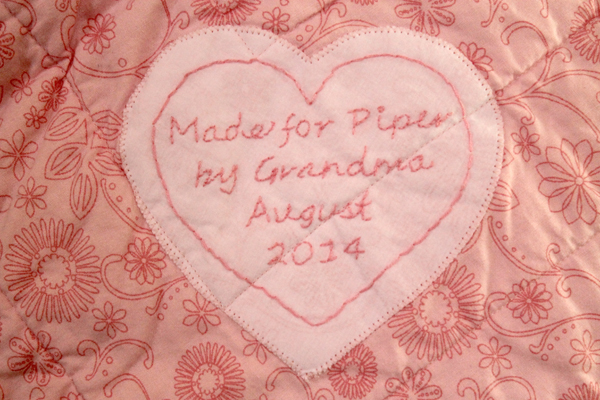 Label for Piper's Quilt