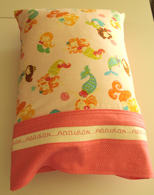 Adorable Pillow Case with Timeless Treasures fabric and Kaufman Essex Linen
