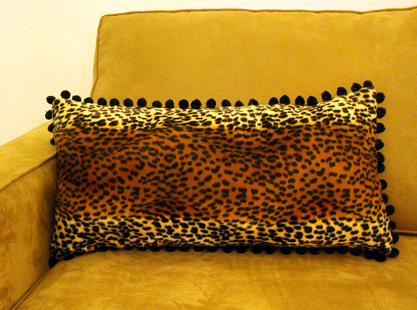 Finished Funky Lumbar Leopard Pom Pom Pillow