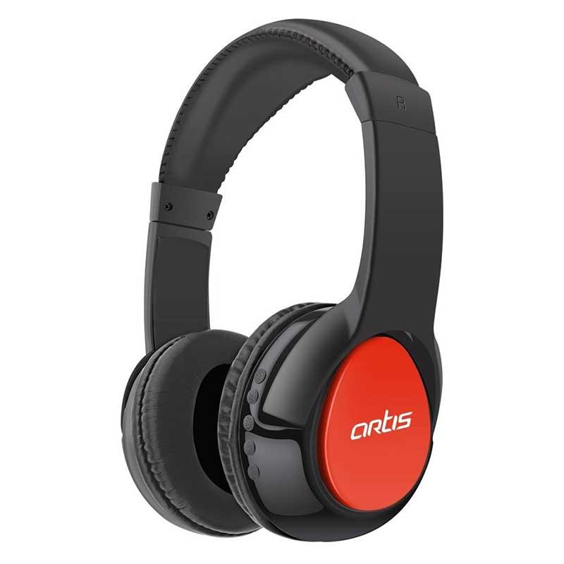 BH200M BLUETOOTH HEADPHONE WITH MIC. FM RADIO MICRO SD CARD READER (BLACK-RED)
