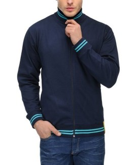 AWG High Neck Sweatshirt Navy Blue with Blue Stripes