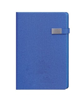 Faux Leather Blue A4 Notebook with Clip Latch