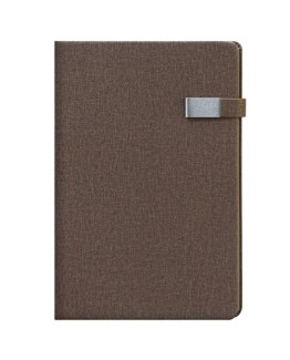 Faux Leather Mocha A4 Notebook with Clip Latch