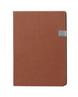 Faux Leather Walnut Brown A4 Notebook with Clip Latch