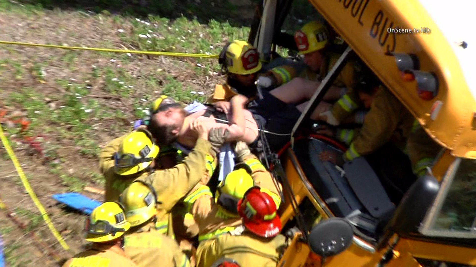 Gerald Rupple was pulled from a school bus that he was driving when it crashed in Anaheim Hills on April 24, 2014. (Credit: OnScene TV)