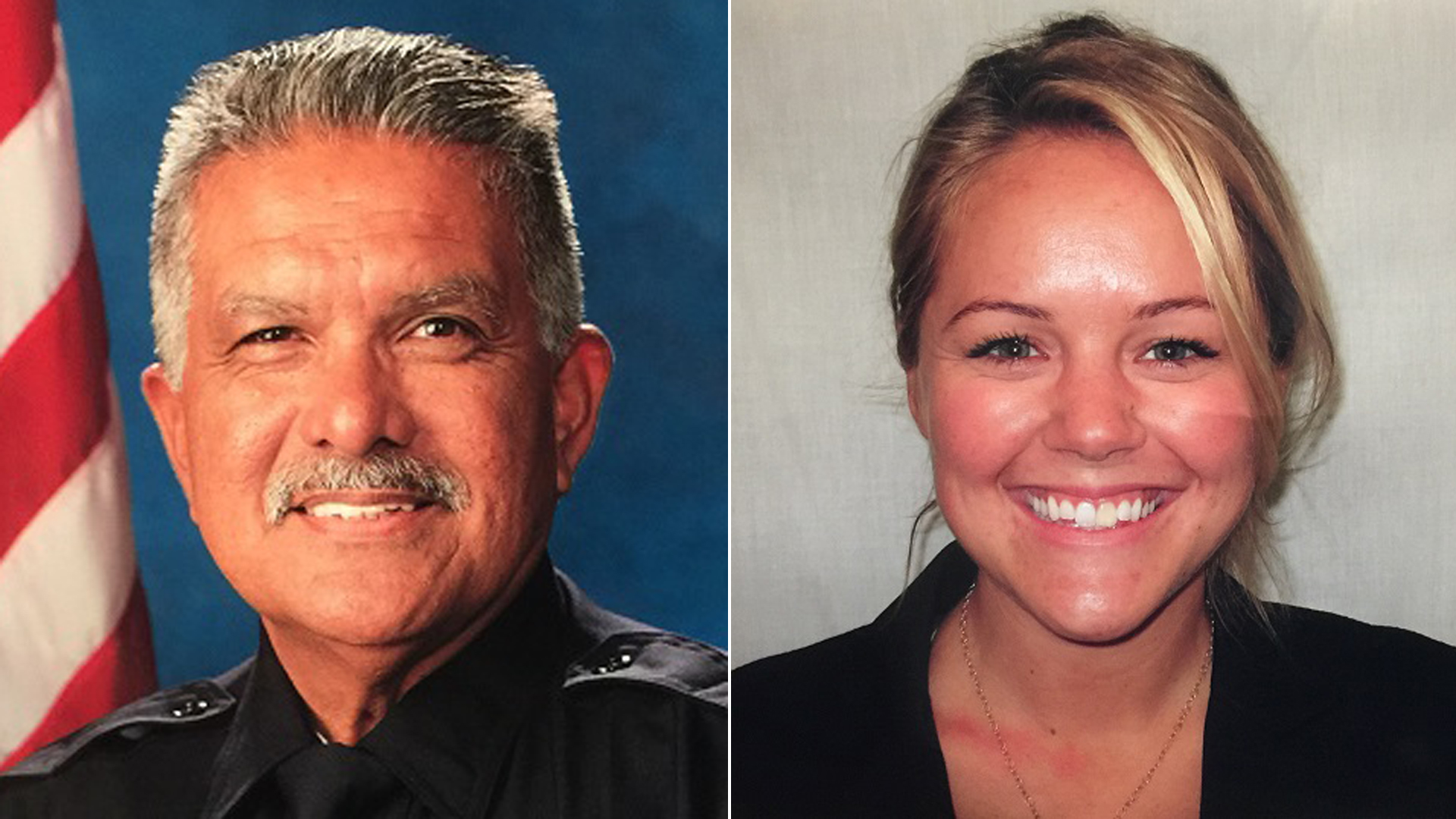 Photos of slain officers Jose Gilbert Vega, left, and Lesley Zerebny were released by the Palm Springs Police Department on Oct. 8, 2016.