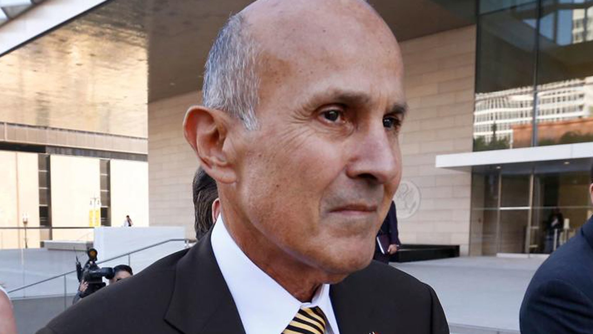 Ex-Los Angeles County Sheriff Lee Baca is seen outside the L.A. federal courthouse after he was convicted of obstruction of justice and other charges. A judge denied Baca's request to be free on bond while he appeals his conviction. (Al Seib / Los Angeles Times)