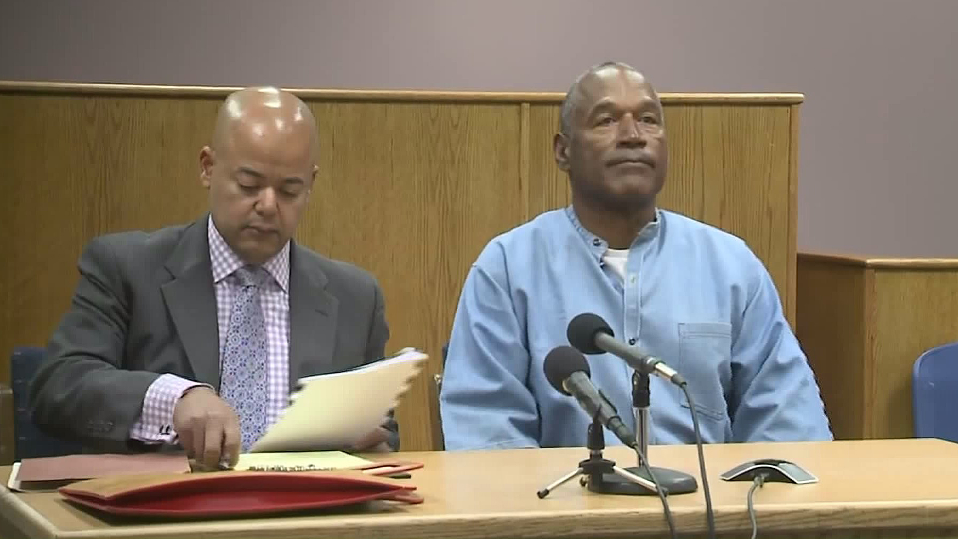 O.J. Simpson appears at a parole hearing on July 20, 2017. (Credit: Pool)