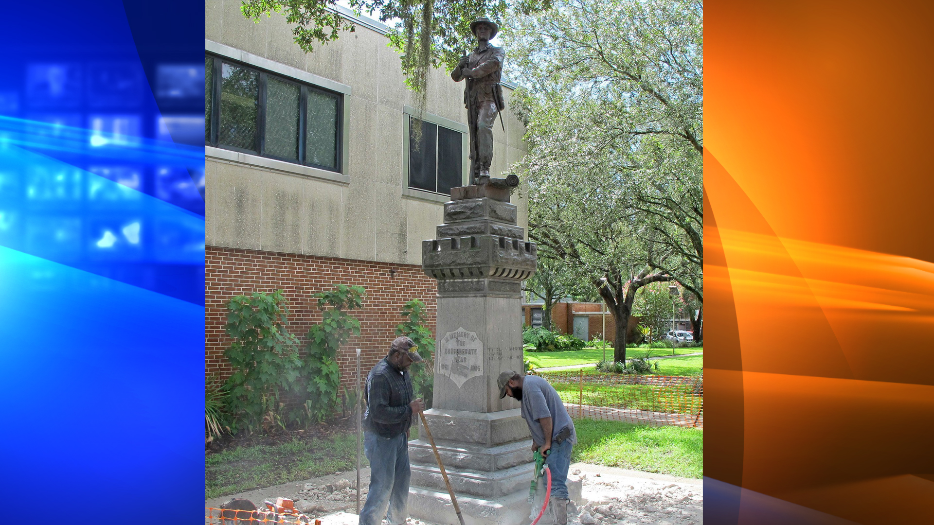 """A Confederate statue called """"Old Joe"""" was removed in Gainesville, Florida, on Monday, August 14, 2017. (John Dearren/AP via CNN Wire)"""