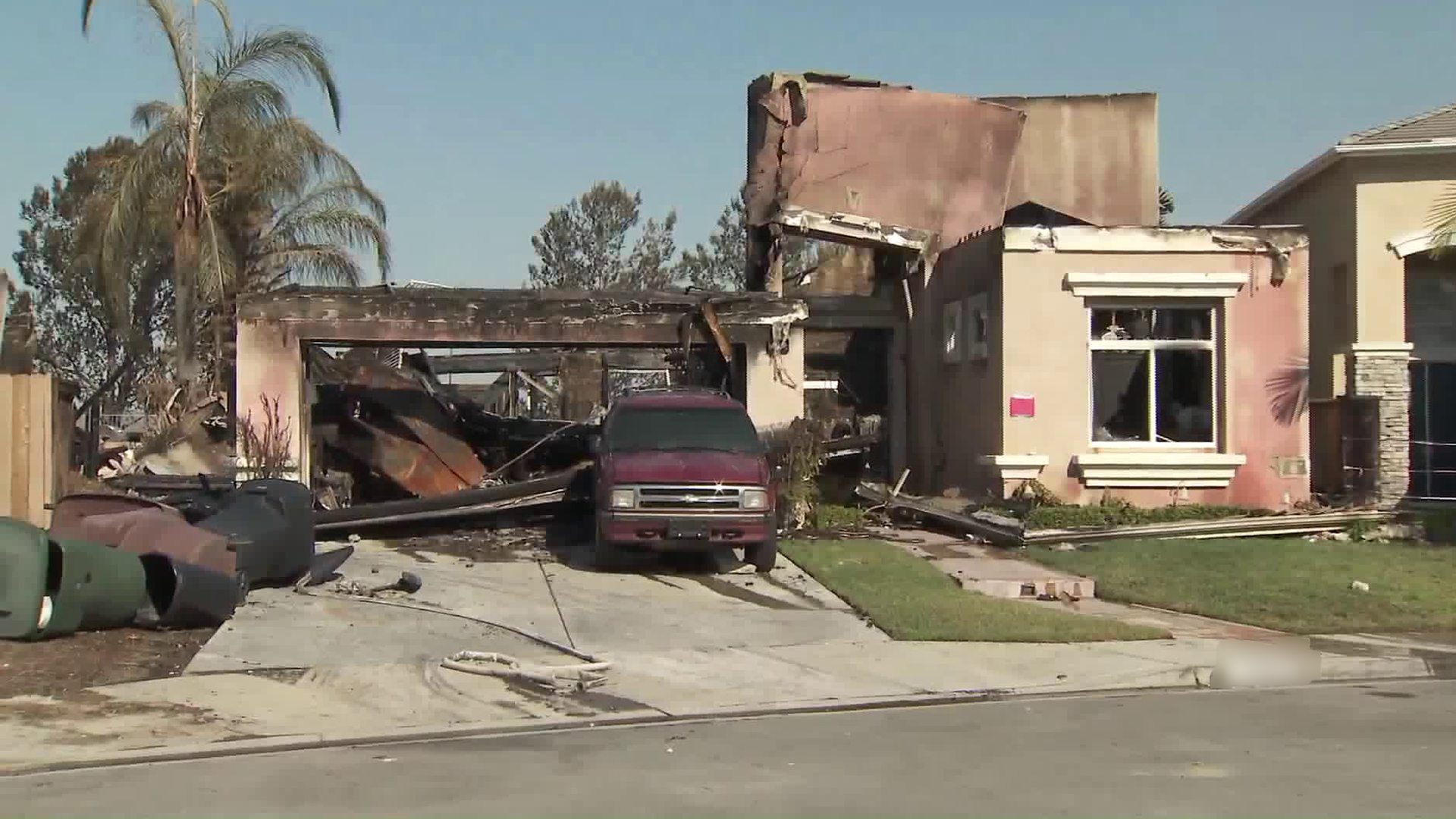 A home in Anaheim Hills, seen on Oct. 10, 2017 was damaged during the Canyon Fire 2. (Credit: KTLA)