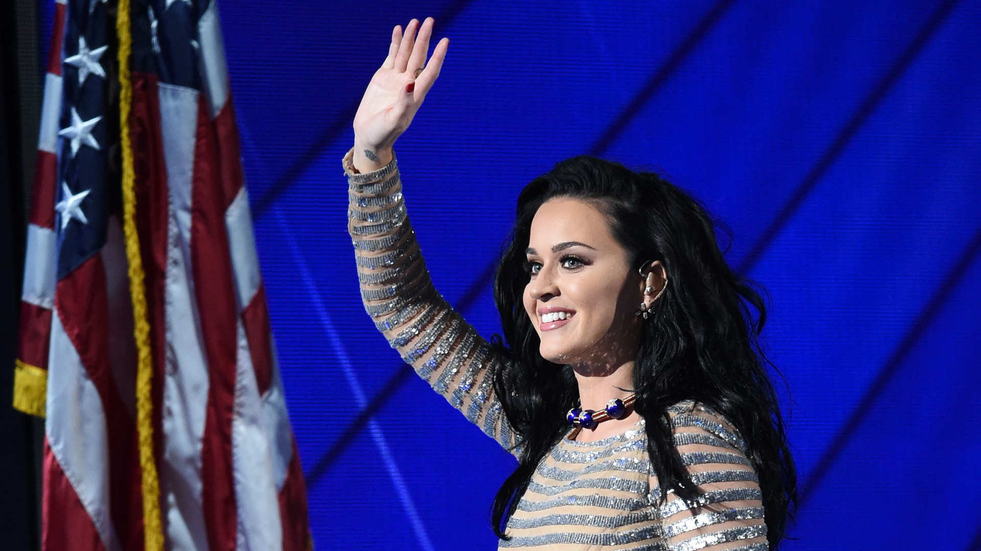Singer Katy Perry performs during the final day of the 2016 Democratic National Convention on July 28, 2016, at the Wells Fargo Center in Philadelphia, Penn. (TIMOTHY A. CLARY/AFP/Getty Images)