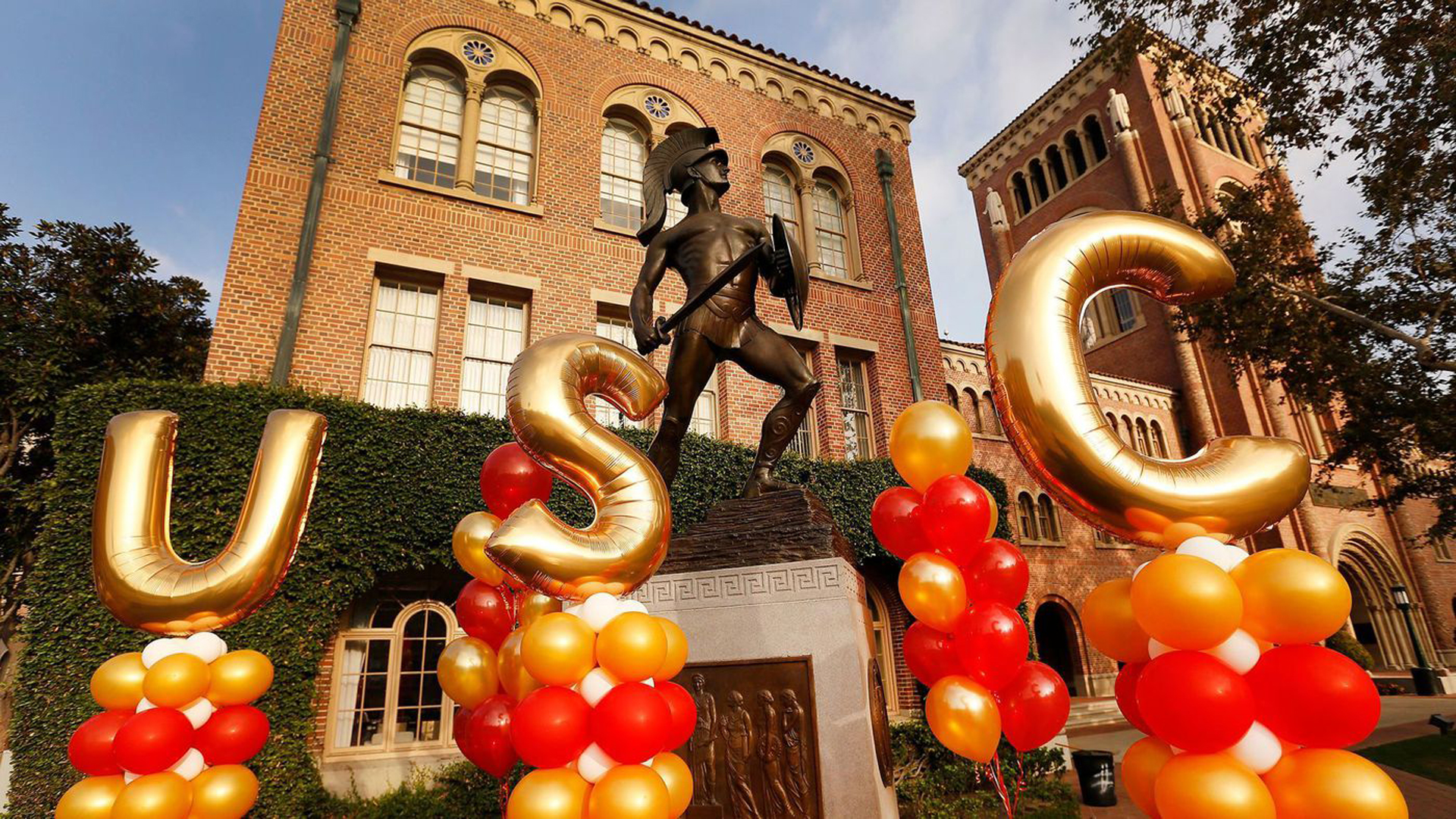 The statue of Tommy Trojan on the USC campus is seen in a file photo. (Al Seib / Los Angeles Times)