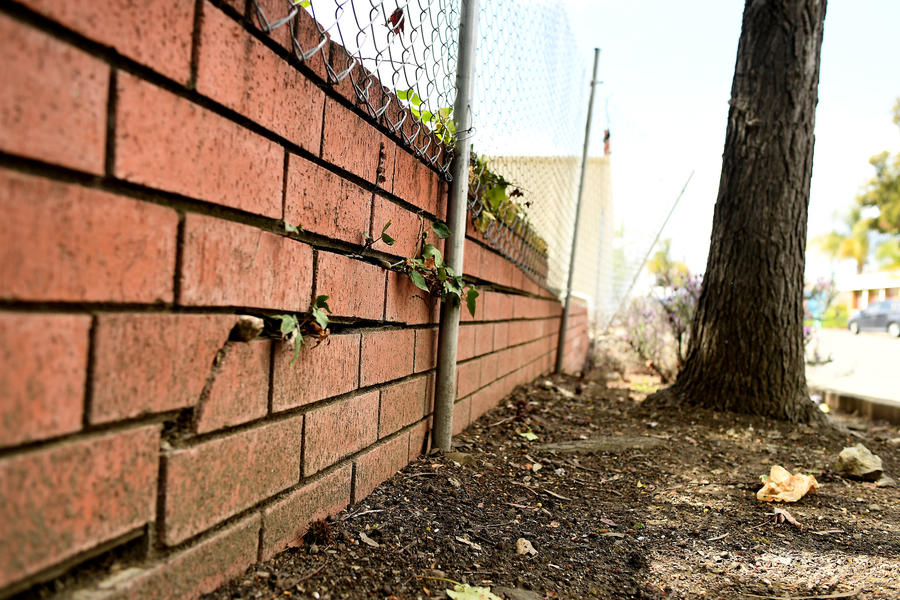 Cracking is seen in a wall that lies along the Hayward fault in the East Bay, considered by the U.S. Geological Survey to be more dangerous than the infamous San Andreas Fault. (Credit: Wally Skalij / Los Angeles Times)