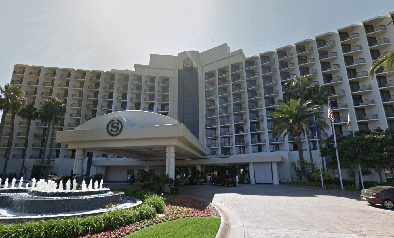 The Sheraton San Diego Hotel and Marina, where the California Republican Party convention was held in May 2018, is seen in a Google Maps Street View image from April 2011.