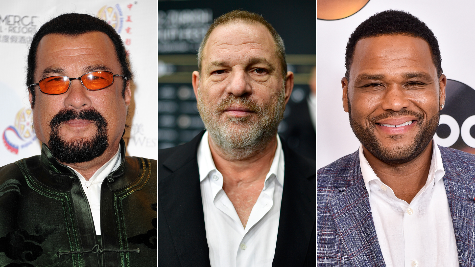 From left: Steven Seagal is seen at a film festival in Pasadena in 2014; Harvey Weinstein appears at a movie premiere in Zurich, Switzerland, in 2016; and Anthony Anderson is seen at an ABC press event in Beverly Hills in 2016. (Credit: Allen Berezovsky / Alexander Koerner / Mike Windle / Getty Images)
