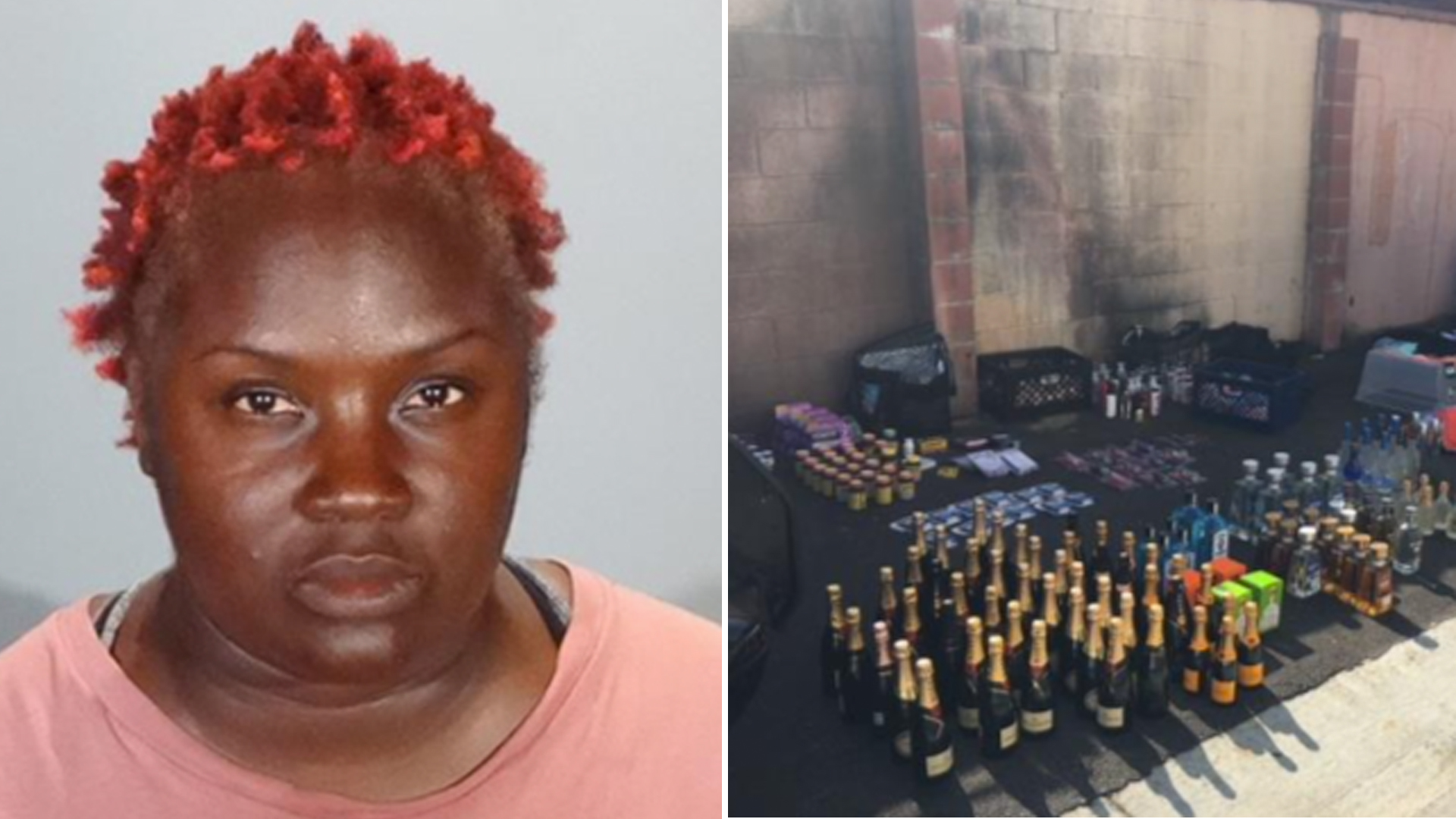 Glendale police provided this booking photo of Tiffany Mathis and an image of the items officers reported recovering in Inglewood on Aug. 15, 2018.