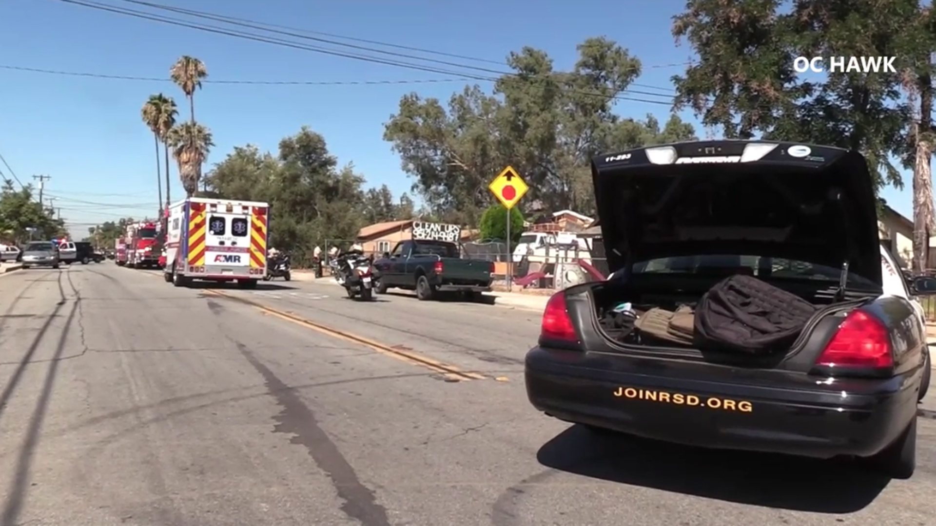 An investigation was underway in Moreno Valley on Sept. 12, 2018, after a toddler was fatally struck by a commercial truck, authorities say. (Credit: OC Hawk)