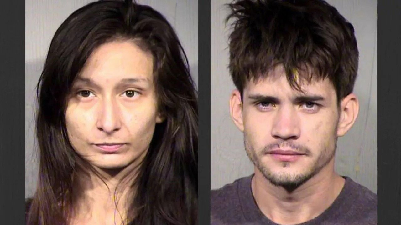 Estella Hernandez and Rafael Kagan are seen in undated booking photos provided by the Maricopa County Sheriff's Office. (Credit: CNN)