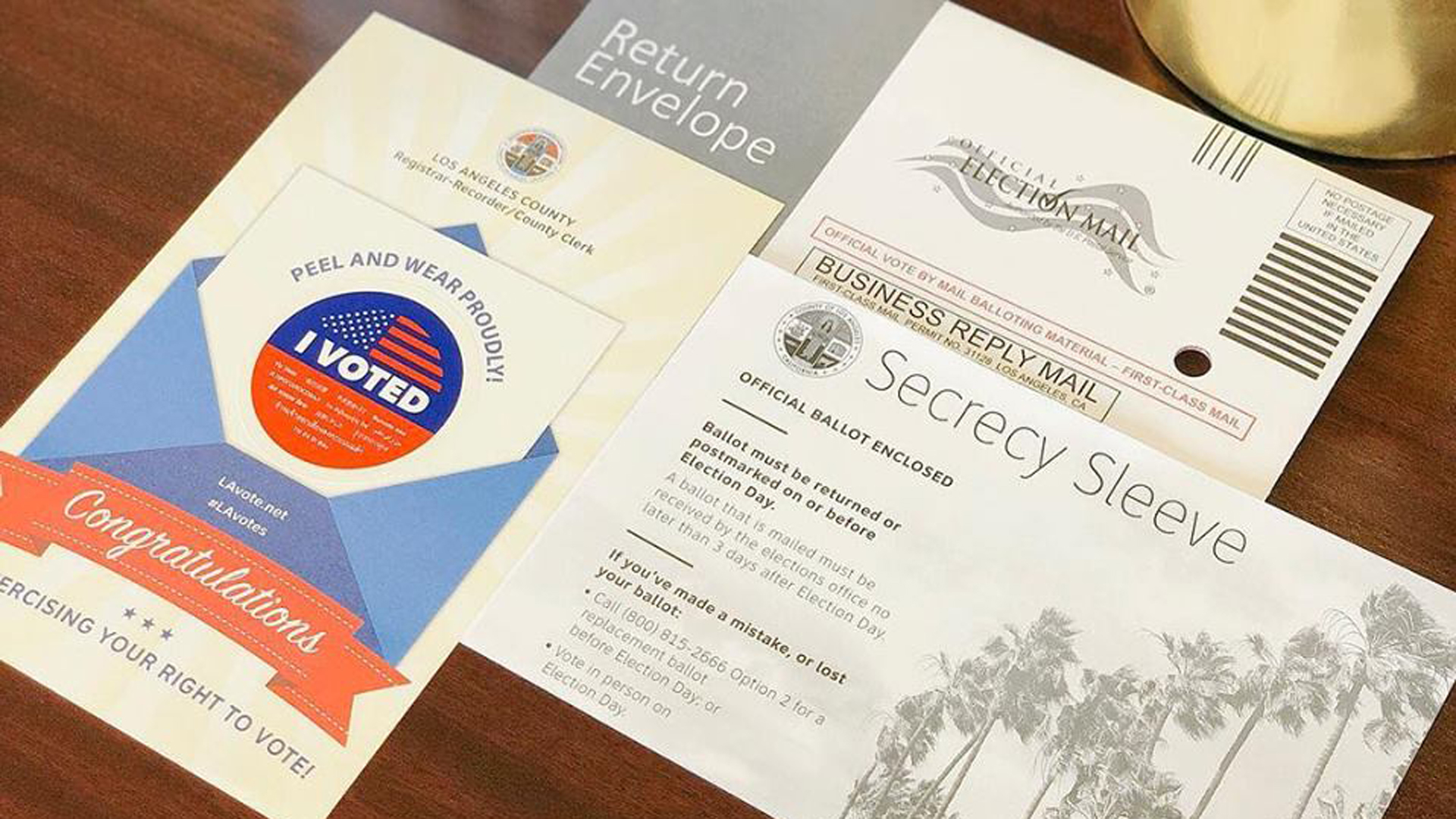 A vote-by-mail ballot packet is seen in an image released by the Los Angeles County Registrar-Recorder on Oct. 9, 2018.