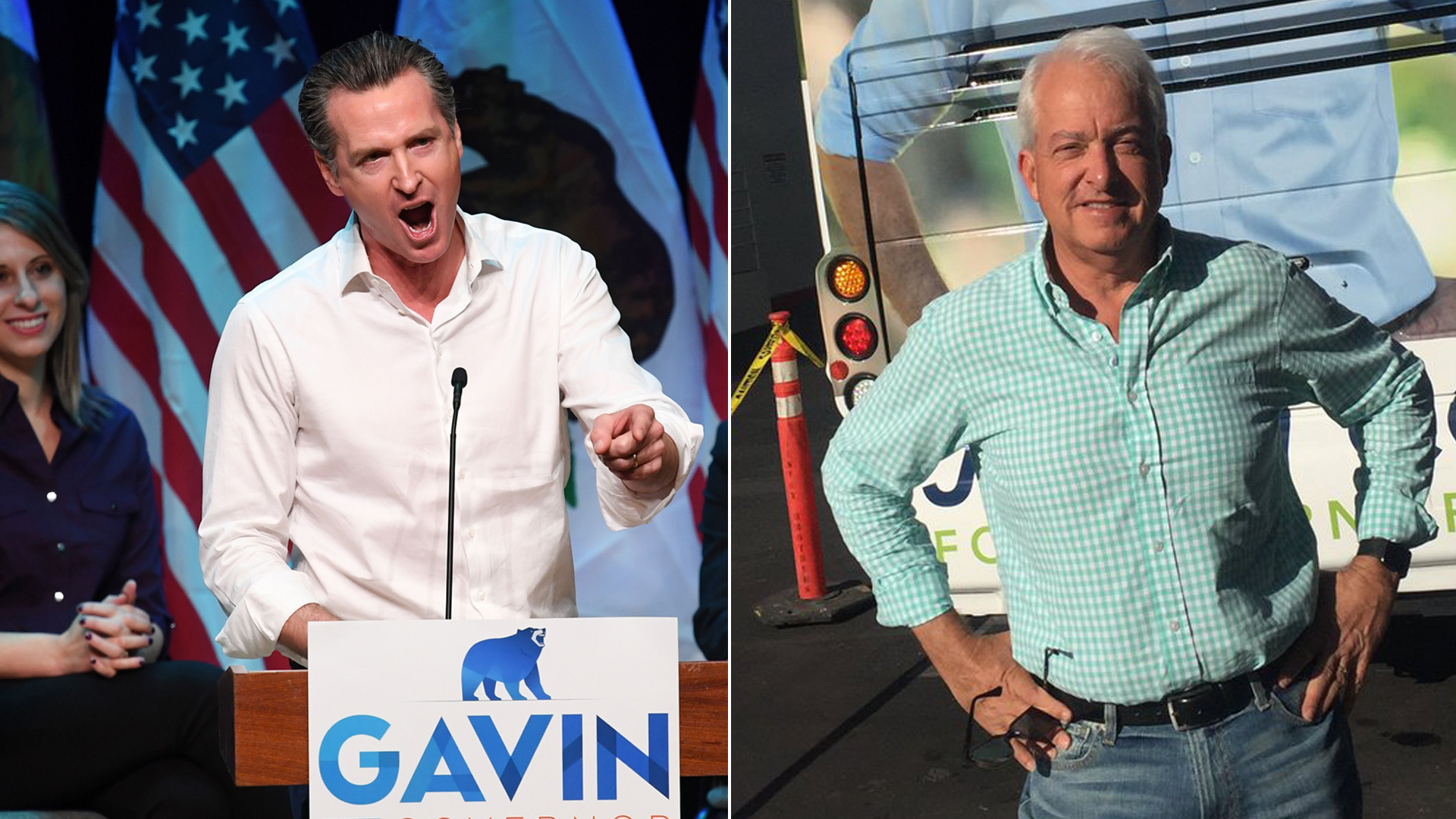 Gavin Newsom, left, campaigns in Santa Clarita on Nov. 3, 2018. John Cox, right, poses in front of a campaign bus in an image he posted to Twitter on Nov. 4, 2018. (Credit: MARK RALSTON/AFP/Getty Images; Twitter)