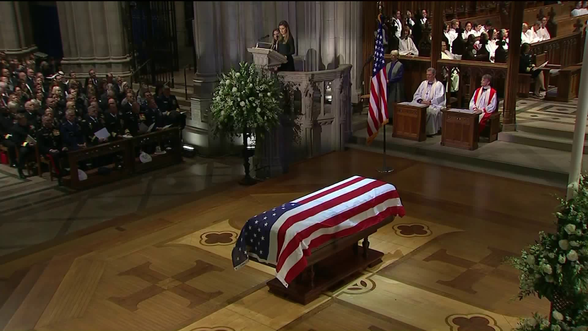The casket of George H.W. Bush is seen during funeral services on Dec. 5, 2018. (Credit: CNN)