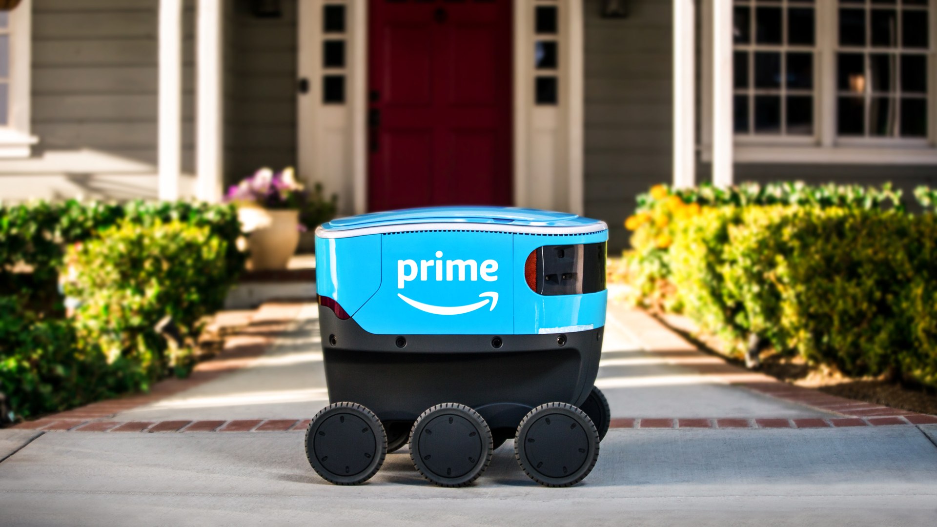 This undated photo provided by Amazon shows a self-driving delivery robot that the company is calling Scout.