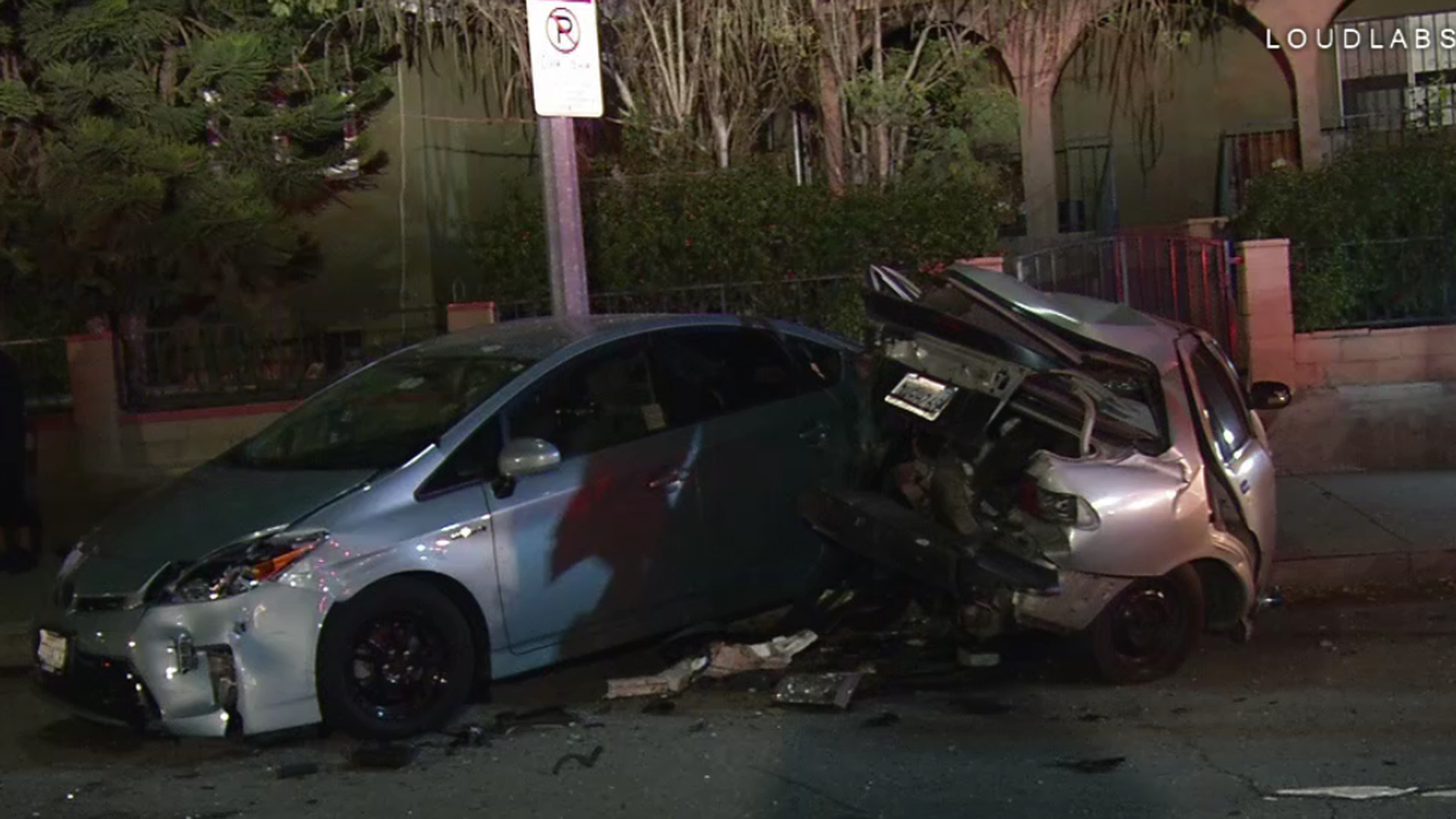 Two cars are seen visibly damaged from a collision that took place on Jan. 26, 2019, in the Cypress Park neighborhood of Los Angeles. (Credit: Loudlabs)