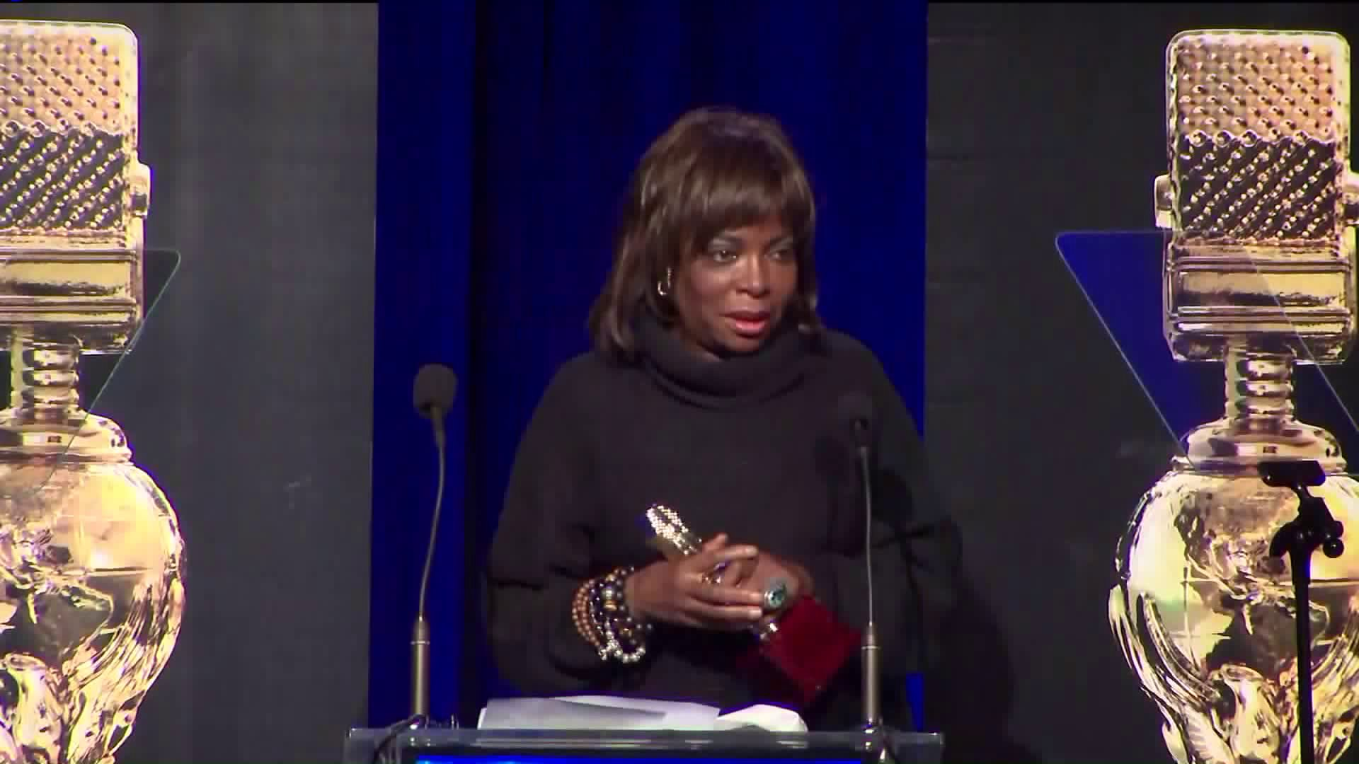 KTLA's Gayle Anderson received a Golden Mike Award for lifetime achievement on Jan. 19, 2019.