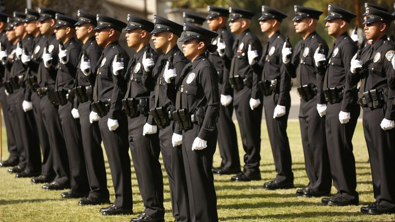 A graduation exercise for new officers at the Los Angeles Police Academy is seen in this photo from 2018. (Credit: Al Seib / Los Angeles Times)