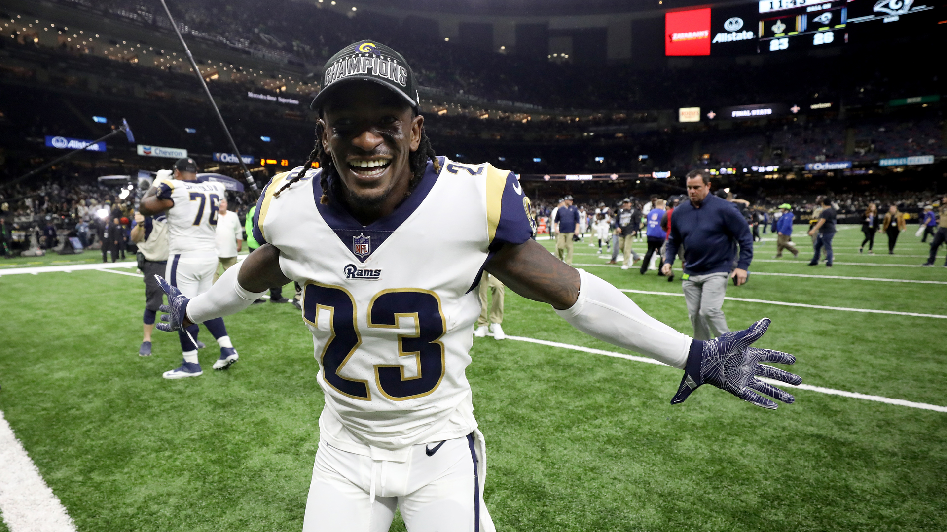 Nickell Robey-Coleman #23 of the Los Angeles Rams celebrates after defeating the New Orleans Saints in the NFC Championship game at the Mercedes-Benz Superdome on January 20, 2019 in New Orleans, Louisiana. (Credit: Streeter Lecka/Getty Images)