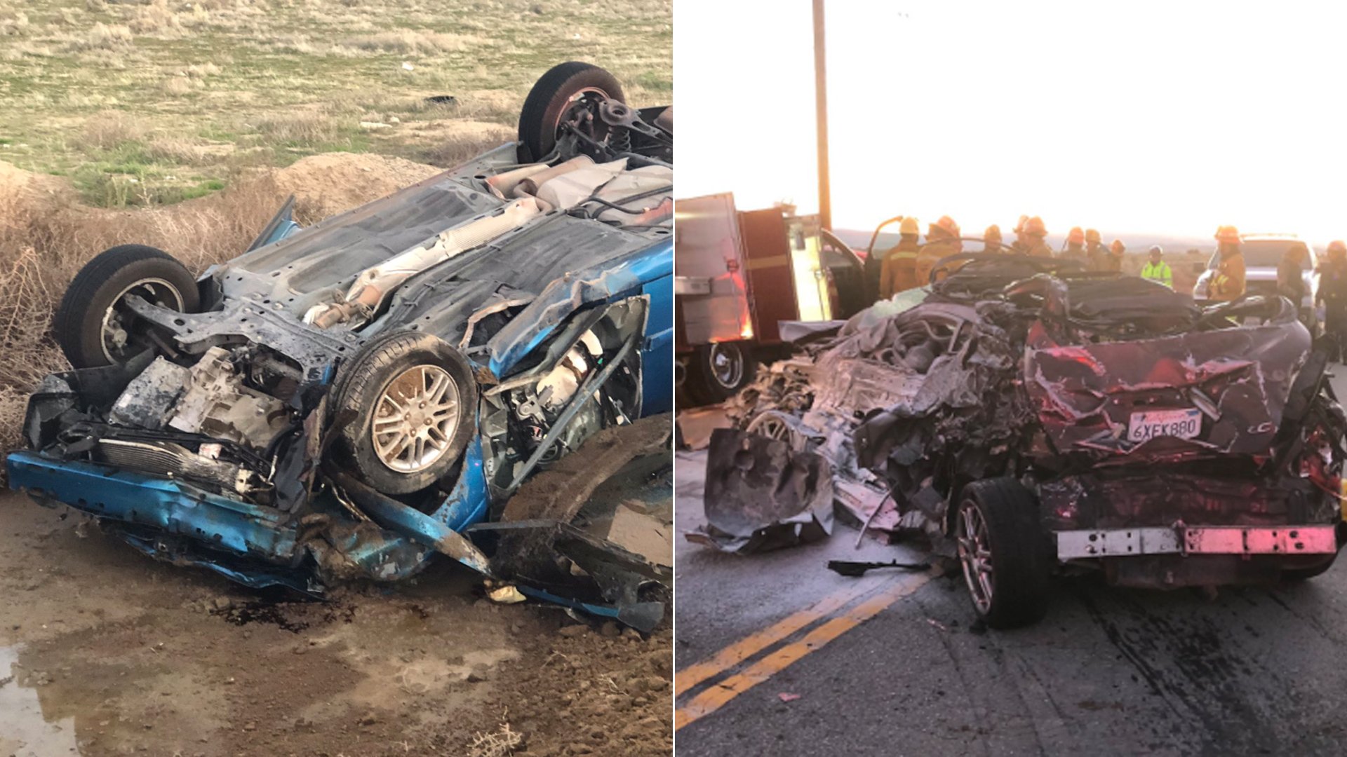 Two cars involved in a fatal, multivehicle crash on Highway 138 in Lancaster are seen in photos released by the Los Angeles County Fire Department.