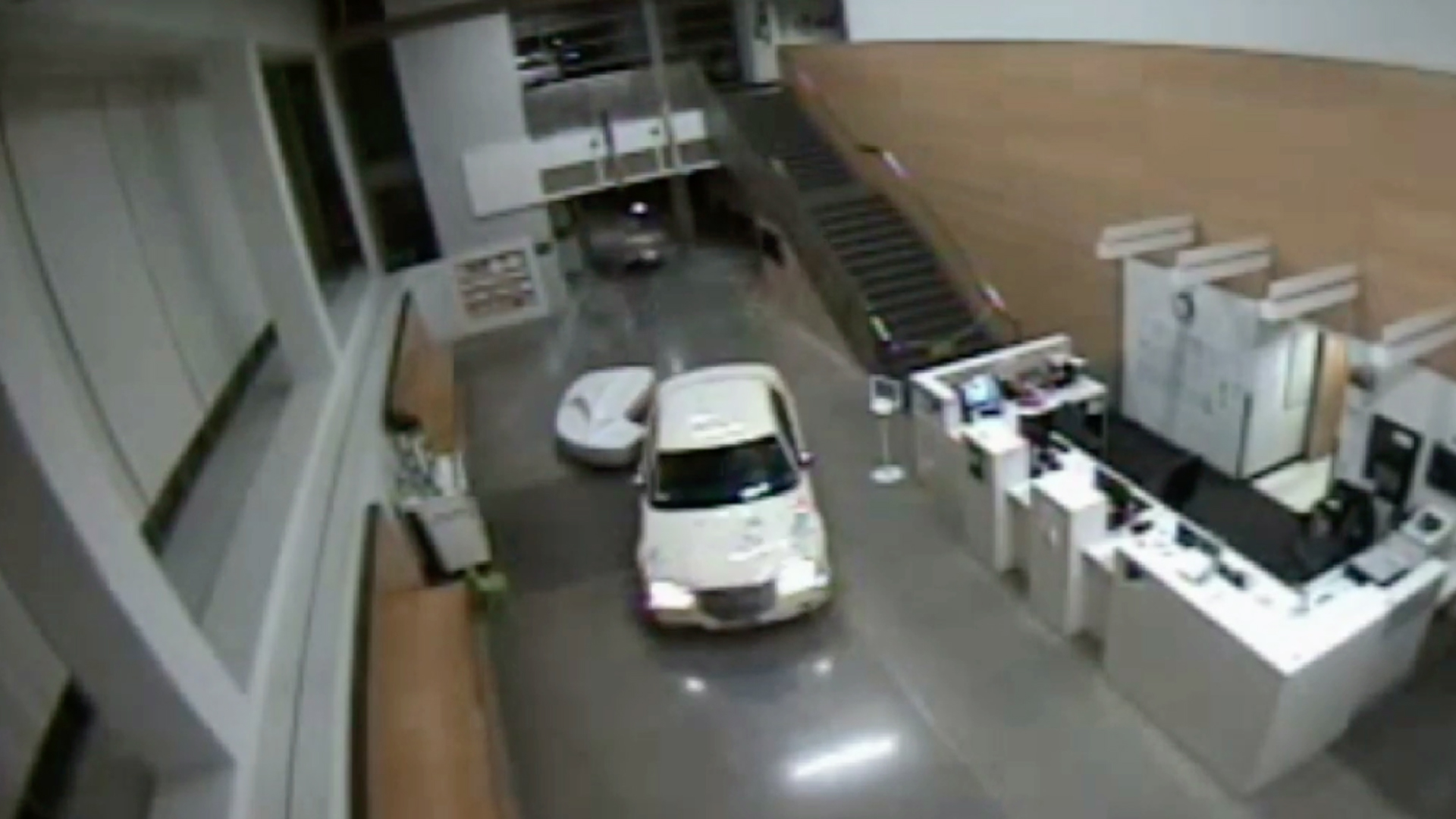 A car smashed through the lobby of the Los Angeles Police Department's San Pedro Station on Feb. 9, 2019. (Credit: LAPD)