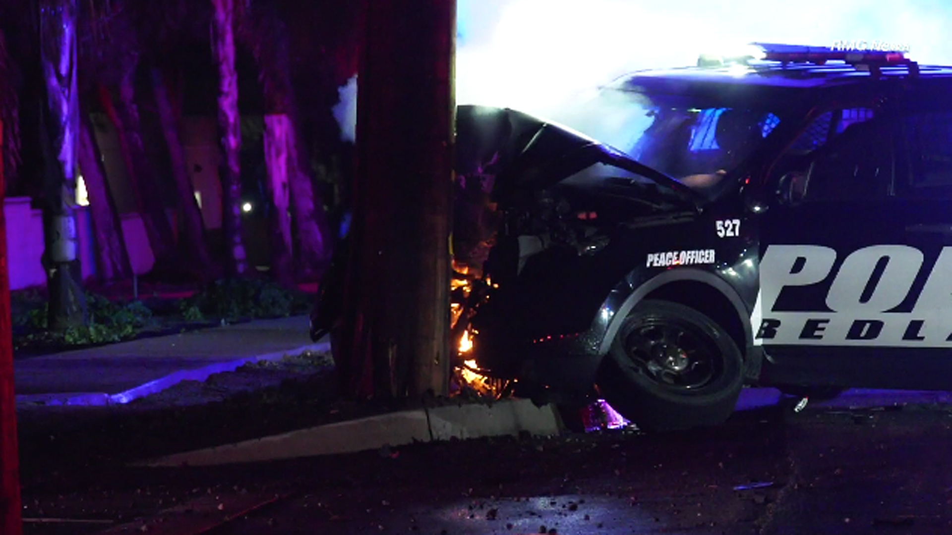 A patrol vehicle crashed into a power pole in Redlands on Feb. 15, 2019. (Credit: RMGNews)