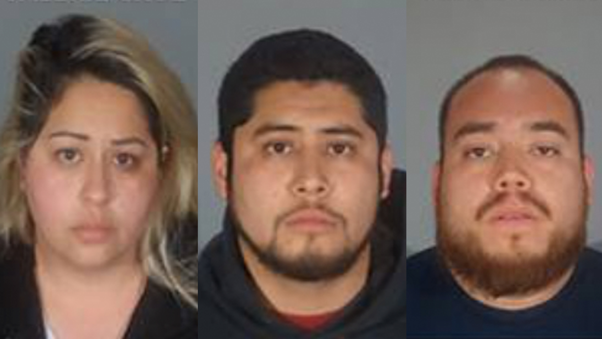 Valerie Cruz, 30, (left), Alejandro Cruz, 25, (center) and Pedro Isais, 28, (right) appear in undated photos provided by the Santa Monica police Department on Feb. 19, 2019.