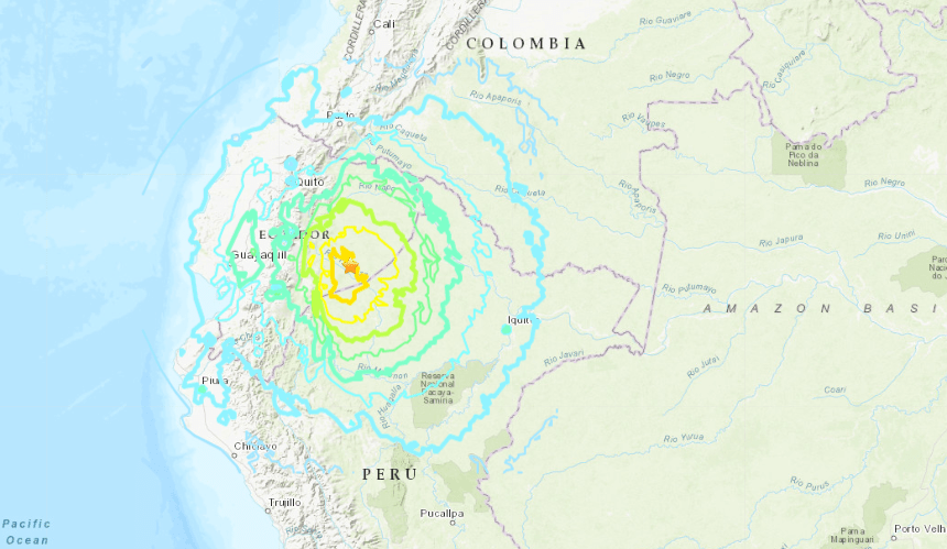 A USGS map shows the location of a very powerful earthquake that struck Ecuador on Feb. 22, 2019.