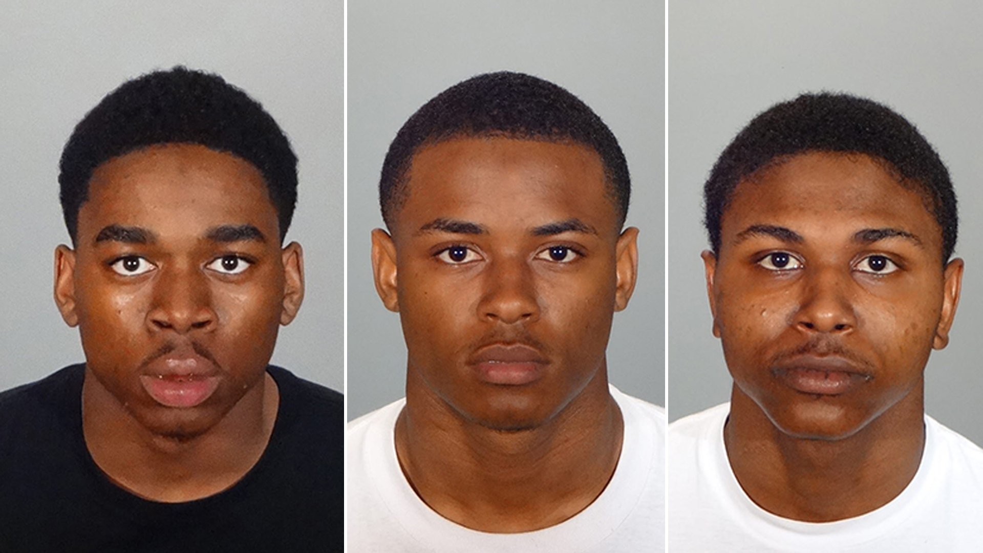 Anthony Henderson, 19, (left) Emajea Porter, 18, (center) and Jordan Maclamore, 18, (right) appear in booking photos provided by the Glendale Police Department on Feb. 20, 2019.
