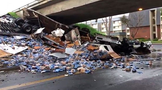 A shipment of beer spilled onto Garvey Avenue in West Covina on March 7, 2019. (Credit: West Covina Police Department)