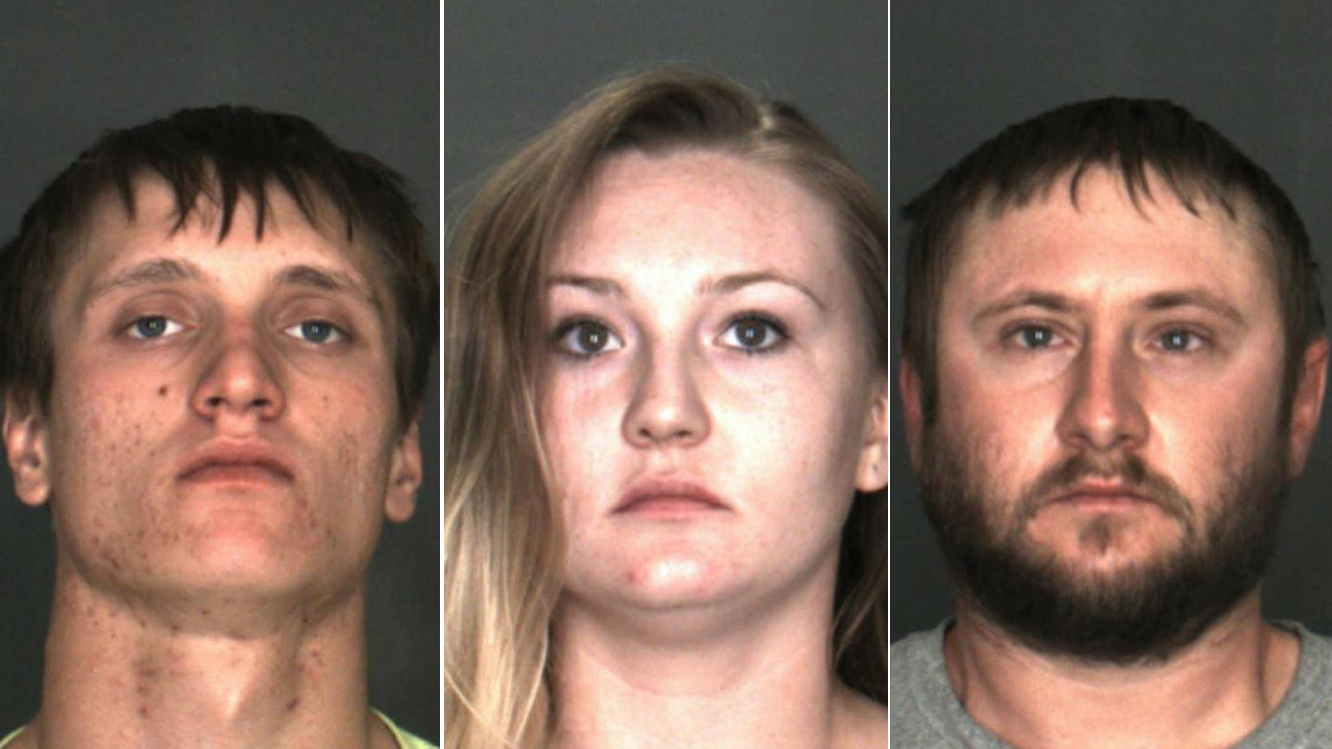 Ronald Wolfe and Nichole and Kyle Stewart appear in booking photos released by Chino police on March 19, 2019.