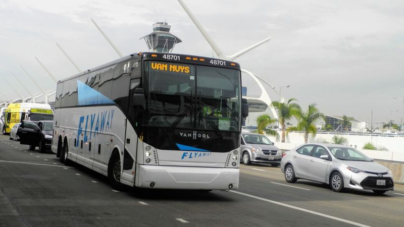 The FlyAway Bus is shown in an undated photo. (Credit: Catharine Hamm / Los Angeles Times)