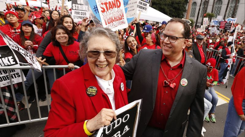 School board candidate Jackie Goldberg, left, is seen with local teachers union President Alex Caputo-Pearl in this undated photo. (Credit: Al Seib / Los Angeles Times)