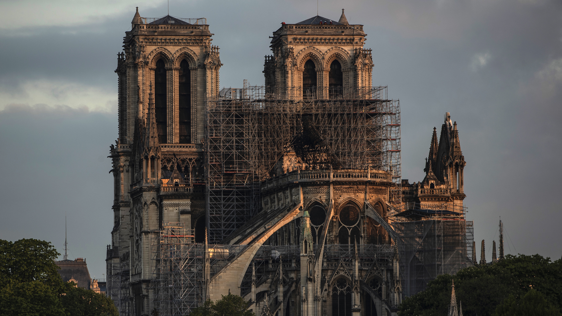 The Notre Dame Cathedral is seen after the fire on April 17, 2019, in Paris, France. (Credit: Dan Kitwood/Getty Images)