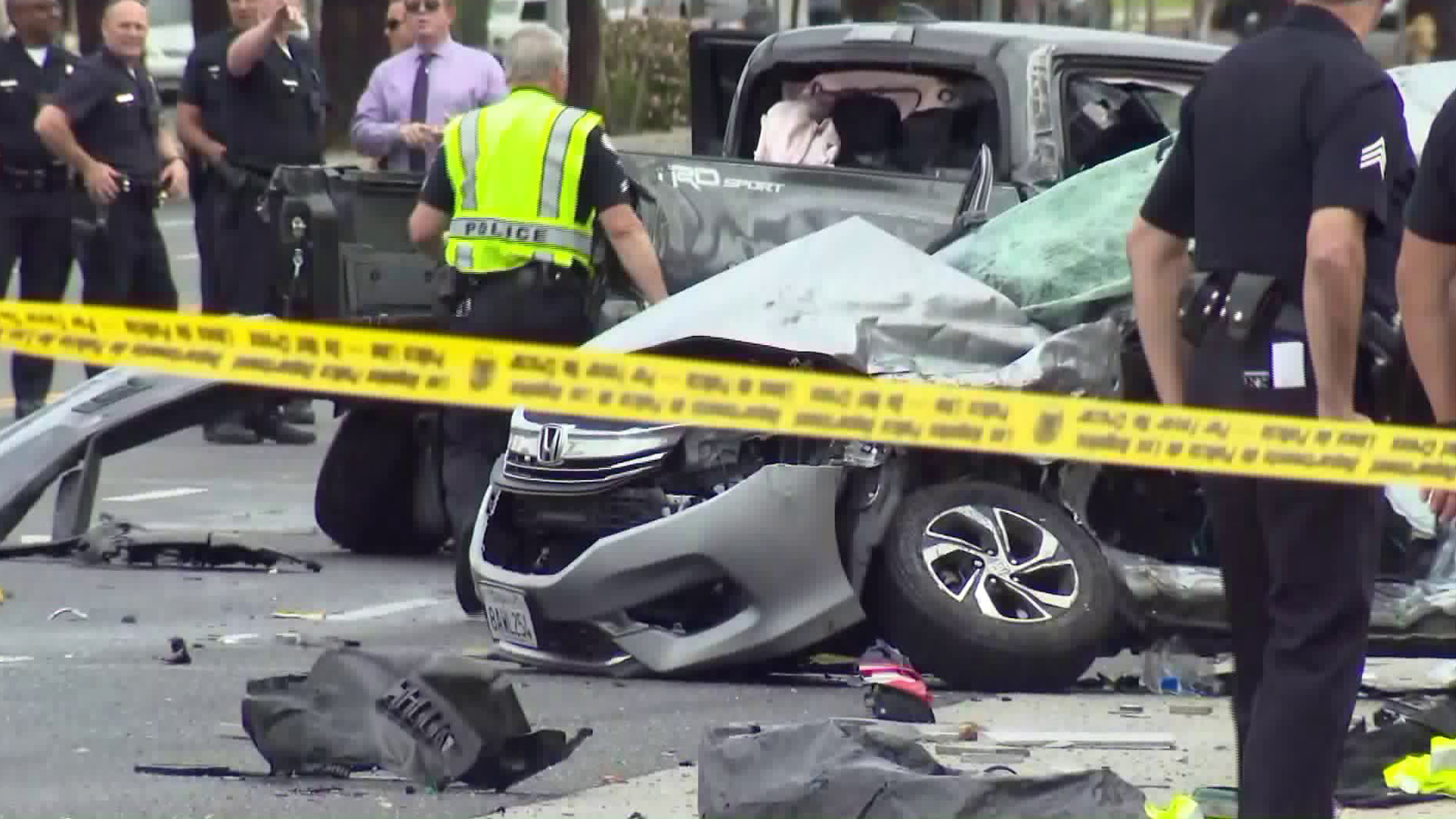 An investigation was underway in Lake Balboa on April 3, 2019, after a stolen pickup truck crashed while trying to evade a traffic stop, police said. (Credit: KTLA)
