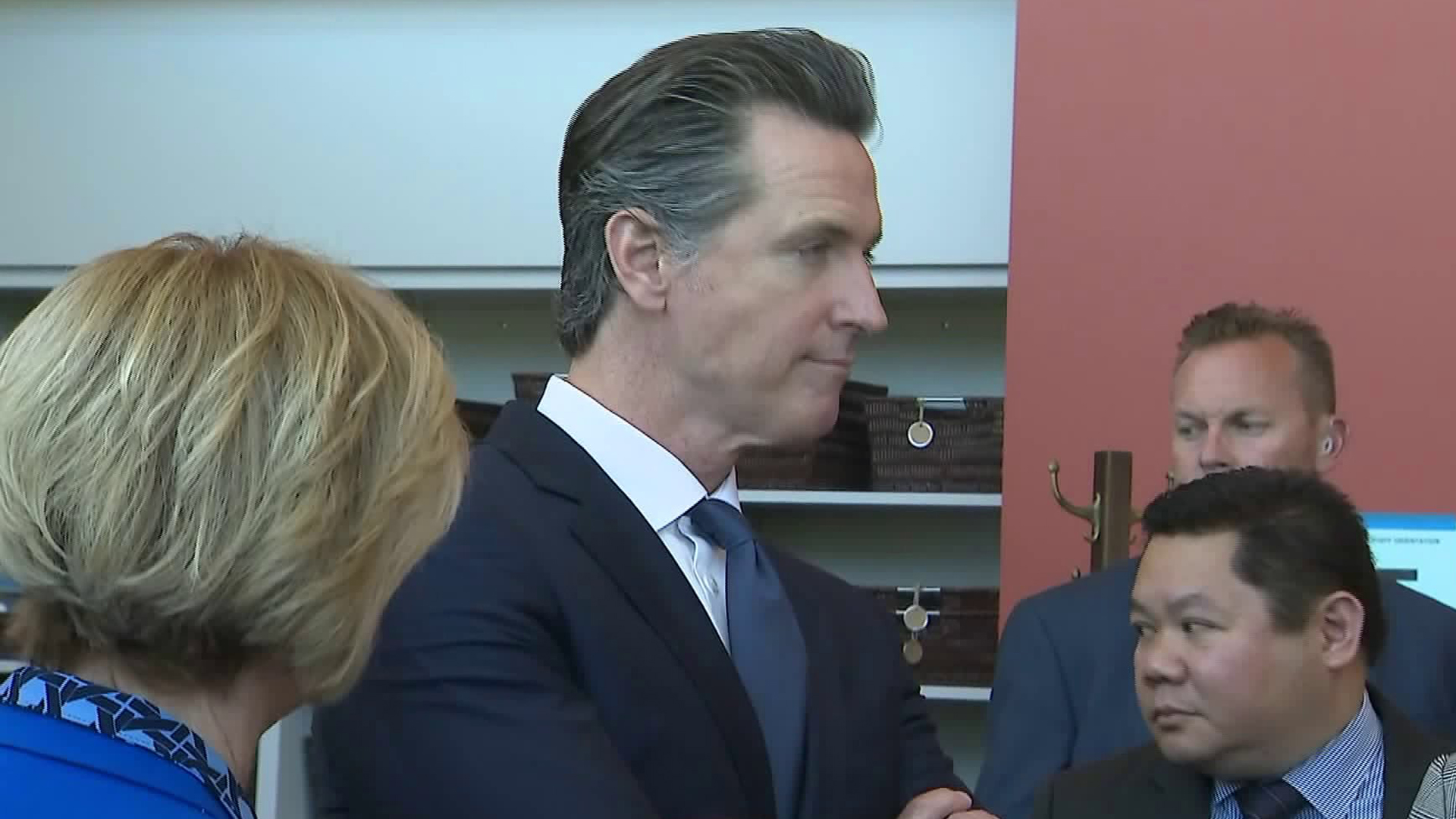 Gov. Gavin Newsom visits Downey on April 17, 2019. (Credit: KTLA)