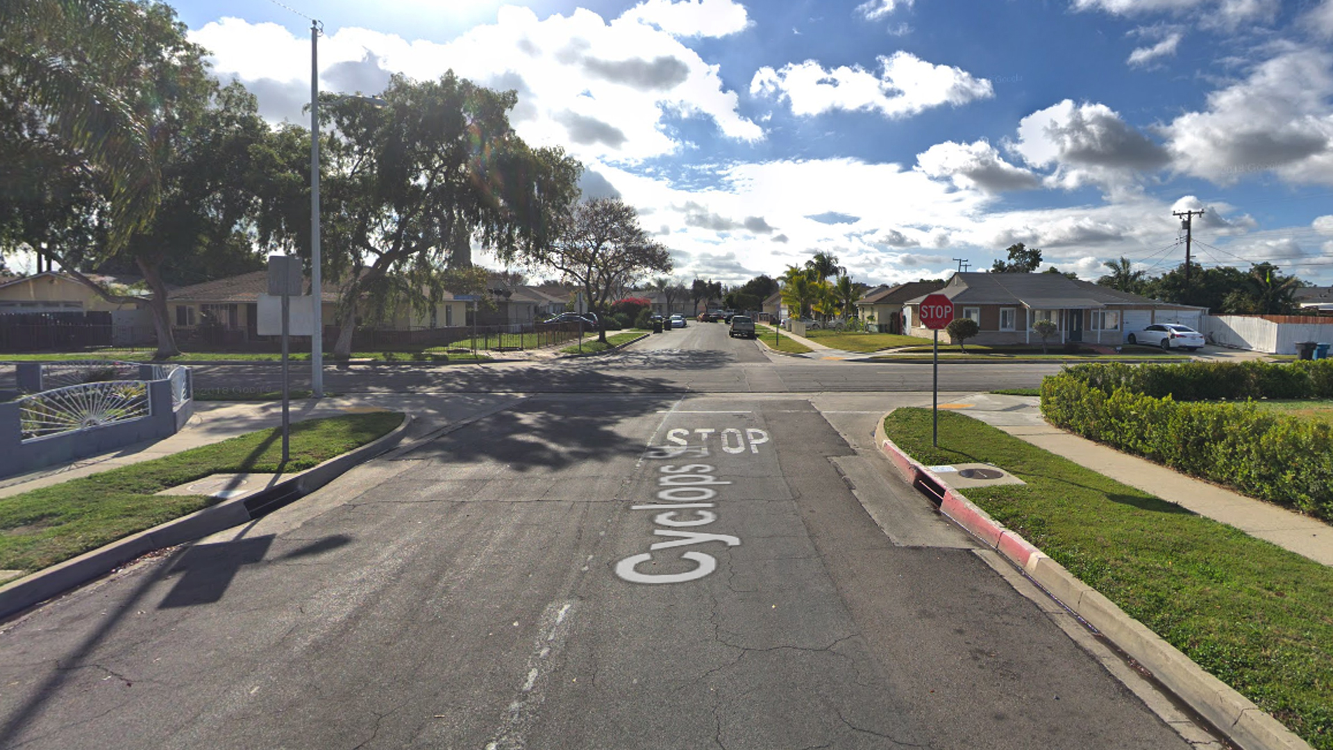 The intersection of Cyclops Street and Bombardier Avenue, as viewed in a Google Street View image in March of 2018.