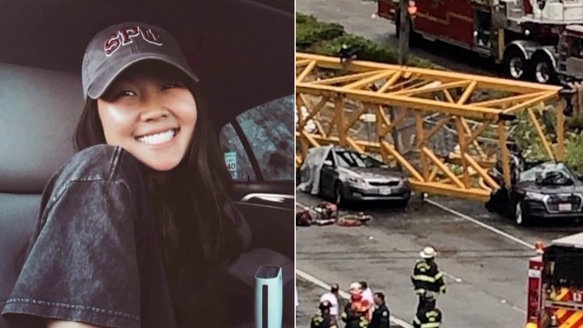 Sarah Wong is seen in an undated photo on left and cars crushed under a construction crane in downtown Seattle are seen on the right. (Credit: Morgan Ludlow via CNN)